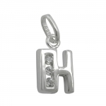PENDANT, INITIALE H WITH CZ, SILVER 925