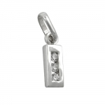 PENDANT, INITIALE I WITH CZ, SILVER 925