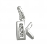 PENDANT, INITIAL K WITH CZ, SILVER 925