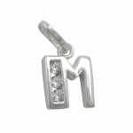 PENDANT, INITIAL M WITH CZ, SILVER 925