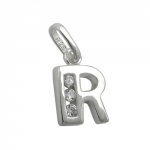 PENDANT, INITIAL R WITH CZ, SILVER 925