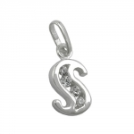 PENDANT, INITIAL S WITH CZ, SILVER 925