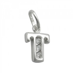 PENDANT, INITIAL T WITH CZ, SILVER 925