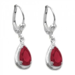 leverback, artifical ruby, silver 925