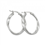Hoop Earrings, Oval & Twisted, Silver 925