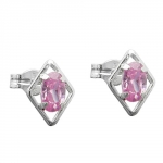 Stud Earrings, Pink Zirconia, Silver 925