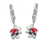EARRINGS, LEVERBACK, LADYBIRD, SILVER 925