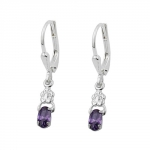 Leverback Earrings, Amethyst & Flower, Silver 925