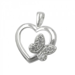 Pendant, Heart with Zirconia Butterfly, Silver 925