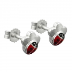 Studs ladybird on flower silver 925