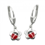 Leverback ladybird on flower silver 925