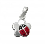 Pendant ladybird on flower silver 925