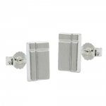Stud Earrings, Square with Cross, Silver 925