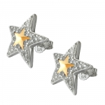 Stud Earrings, Stars with Zirconia, Two Tone, Silver 925