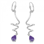 Leverback Earrings, Spiral Amethyst, Silver 925