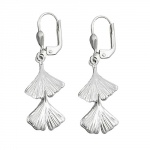 leverback earrings, ginkgo leaf, 925