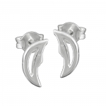 Stud Earrings, Moon with Face, Silver 925