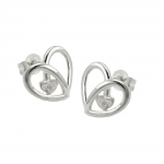Stud Earrings, Heart, Zirconia, Silver 925