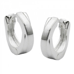 HOOP EARRINGS, CROSSED,  12MM, SILVER 925