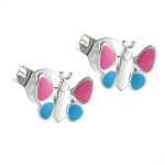 EARRINGS, PINK BUTTERFLIES, SILVER 925
