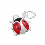 pendant, ladybird red-black, silver 925