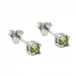 Stud Earrings, Crystals, 3mm, Olive Green, Silver 925