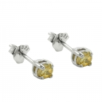 Stud Earrings, Crystals, 3mm, Yellow, Silver 925