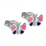 EARRINGS, PURPLE BUTTERFLIES, SILVER 925