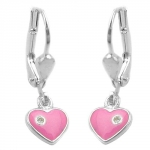 EARRINGS, LEVERBACK, HEART, SILVER 925