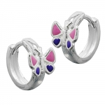 HOOP EARRINGS, BUTTERFLY, SILVER 925