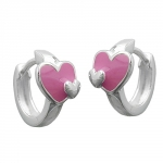 HOOP EARRINGS, HEART, SILVER 925