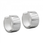 HOOP EARRINGS, 18X10MM, FOR MEN, SILVER 925