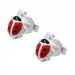 earrings, ladybird, red, silver 925