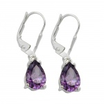 EARRINGS, LEVERBACK, AMETHYST, SILVER 925