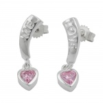 EARRINGS, LOVE, ZIRCONIA-PINK, SILVER 925