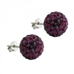 Stud Earrings, 10mm, Purple, Silver 925