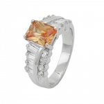 Ring, Zirconia, Champagne/ White, Silver 925