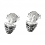 Stud Earrings, Mask, Silver 925