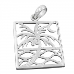 Pendant, Rectangular, Palm Tree, Silver 925