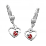 EARRINGS, HEART, LADYBIRD, SILVER 925