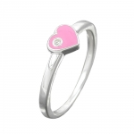 RING, HEART-PINK ZIRCONIA, SILVER 925