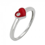 Ring, Red Heart with Zirconia, Silver 925