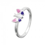 Ring, butterfly, pink, purple, silver 925