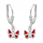 EARRINGS, LEVERBACK, BUTTERFLY, SILVER 925