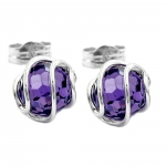 earrings, bead amethyst, silver 925