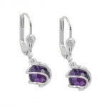 EARRINGS, LEVERBACK, ZIRCONIA, SILVER 925
