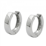 Hoop Earrings, 11mm x 2.5mm, Silver 925