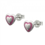 Stud Earrings, Little Heart, Silver 925