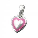 Pendant, Little Heart, Pink, Silver 925