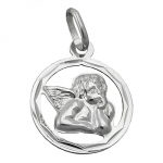 PENDANT, ANGEL IN CIRCLE, SILVER 925